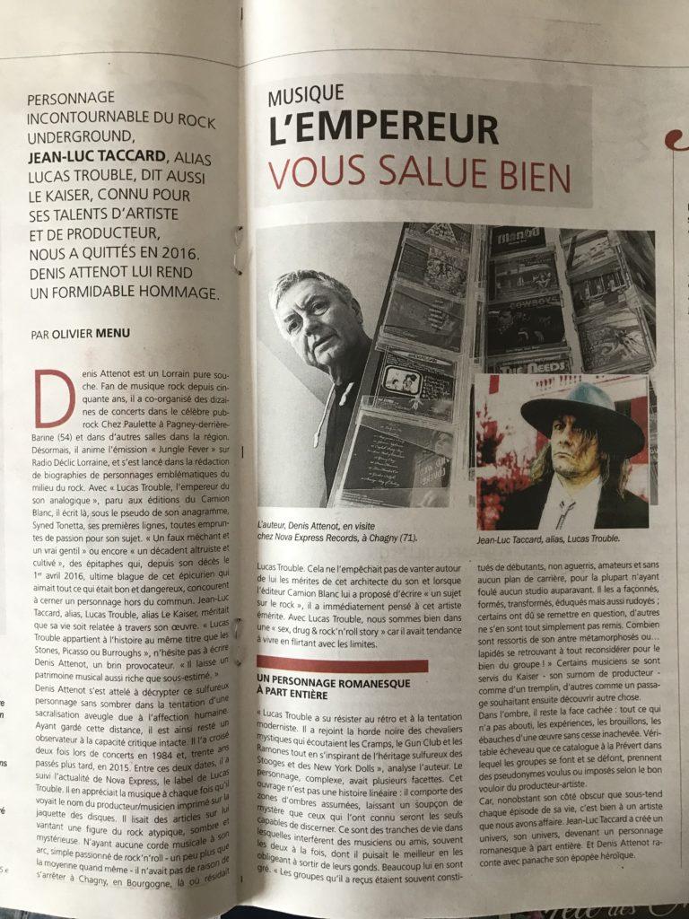 Lucas Trouble Edition Camion Blanc auteur Syned Tonetta Chroniqué par Olivier Menu dans LE MAG de l'Est Républicain