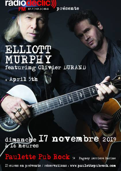 concert Elliott Murphy, Olivier Durand,April 5th